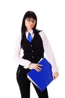 Pomyślny bizneswoman z falcówką