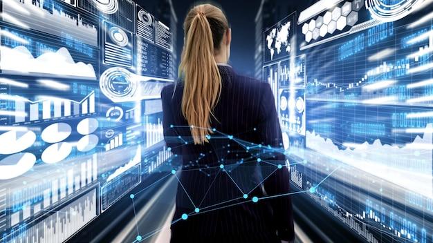 Pomysłowa wizualizacja kobiety biznesu, specjalisty ds. inwestycji i doradcy inwestycyjnego