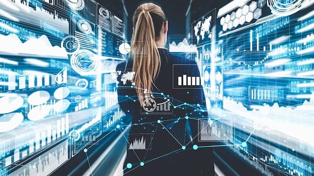Pomysłowa wizualizacja kobiety biznesu, specjalisty i doradcy inwestycyjnego