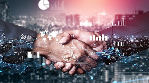 Pomysłowy wizualny biznesowy uścisk dłoni z grafiką komputerową danych inwestycyjnych