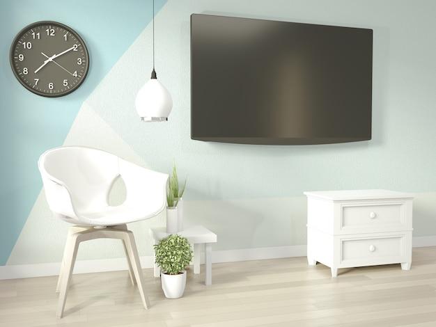 Pomysły jasnoniebieskiego i białego salonu geometryczny obraz ścienny w kolorze w pełnym stylu na drewnianej podłodze
