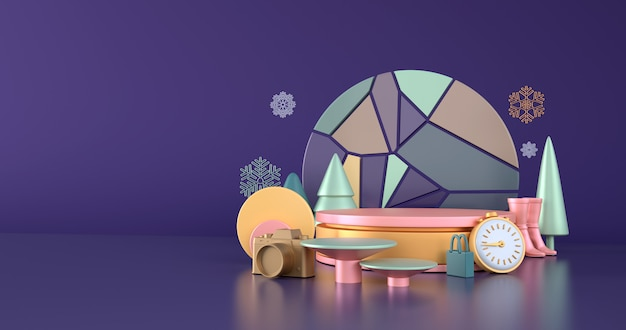 Pomysły na zimowe zakupy i podium z różowego złota na niebieskim tle.