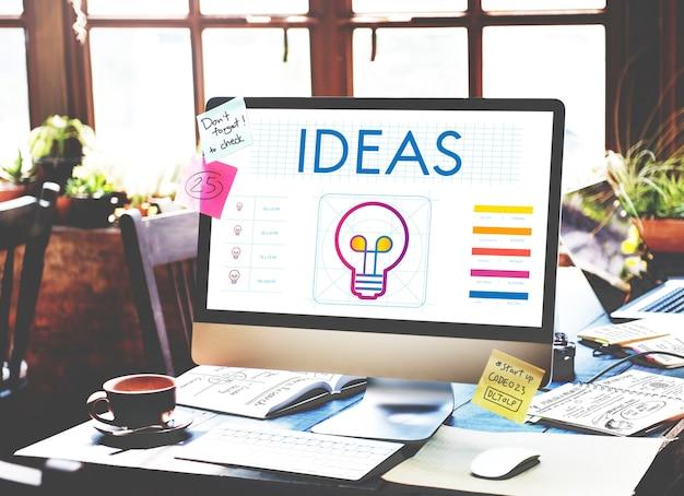 Pomysły żarówka kreatywność wyobraźnia inspiracja koncepcja