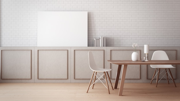 Ponadczasowa makieta plakatu na ścianie w jadalni / renderowanie 3d wnętrze