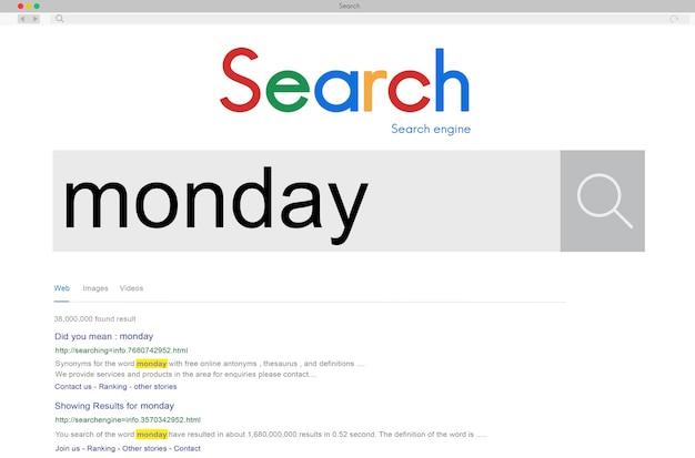 Poniedziałek plan dnia dzień roboczy koncepcja kalendarza