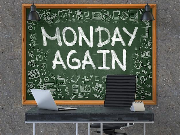 Poniedziałek ponownie - odręczny napis kredą na zielonej tablicy z ikonami doodle dookoła
