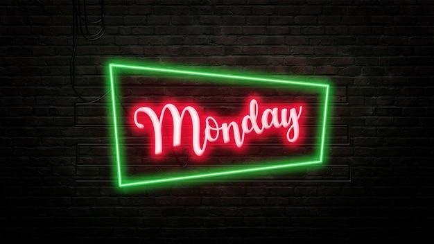 Poniedziałek znak godło w stylu neonowym na tle ściany z cegły