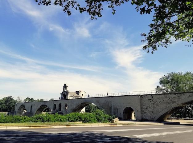 Pont d'avignon otoczony rzeką i zielenią pod słońcem we francji