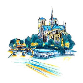 Ponury pejzaż z południową fasadą katedry notre dame de paris, francja. markery wykonane z obrazka