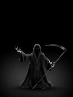 Ponury żniwiarz na ciemnym tle