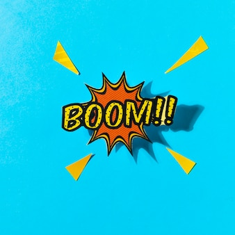 Pop art boom komiksu! dymek na niebieskim tle
