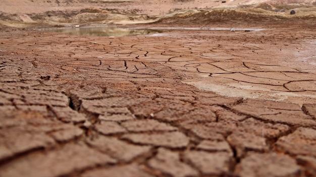 Popękana ziemia na dnie wyschniętego jeziora