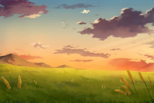 Popołudniowy zachód słońca niebo chmury - tło anime.