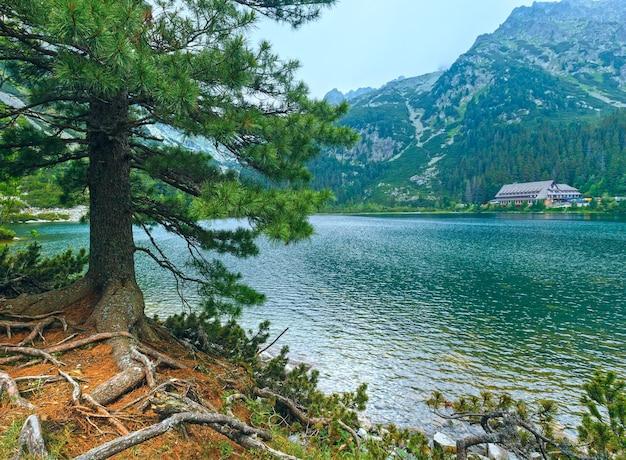 Popradske pleso i wysokie tatry letni pochmurny widok na góry (słowacja)