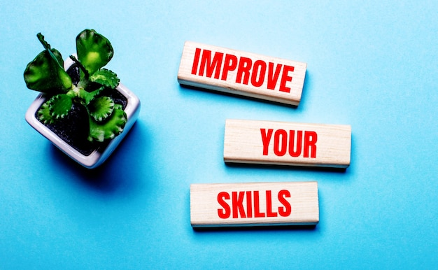 Popraw swoje umiejętności jest napisane na drewnianych klockach na jasnoniebieskiej powierzchni w pobliżu kwiatka w doniczce