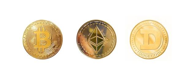 Popularne cyfrowe monety kryptograficzne na białym tle