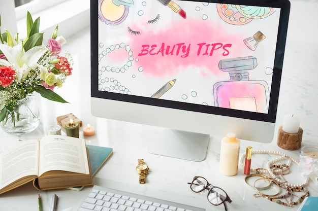 Porady kosmetyczne akcesoria do makijażu koncepcja
