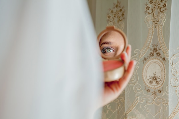 Poranek panny młodej. opłaty panny młodej. zdjęcie ślubne
