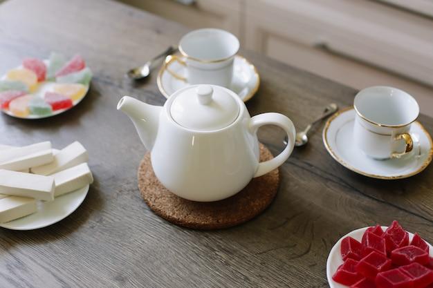 Poranna herbata z marmoladą i galaretką