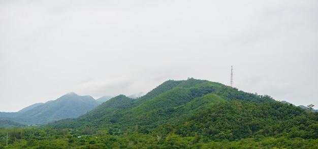 Poranna mgła w tropical mountain range, w parku narodowym kaeng krachan