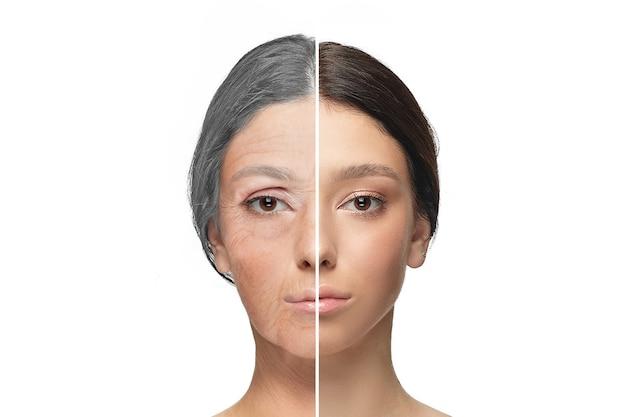 Porównanie. portret pięknej kobiety z problemem i czystą skórę, starzenie się i koncepcja młodości, zabiegi kosmetyczne i lifting. koncepcja przed i po. młodość, starość. proces starzenia i odmładzania