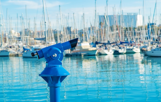 Port jachtowy barcelona hiszpania statków. selektywne ustawianie ostrości.