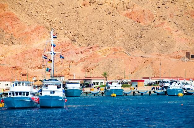 Port morski w egipcie, molo. wiele białych jachtów na morzu, w pobliżu dużej skały