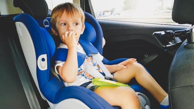 Portret 3 lat maluch chłopiec siedzi w foteliku samochodowym w samochodzie i jedzenie ciasteczek. dzieci podróżujące samochodem