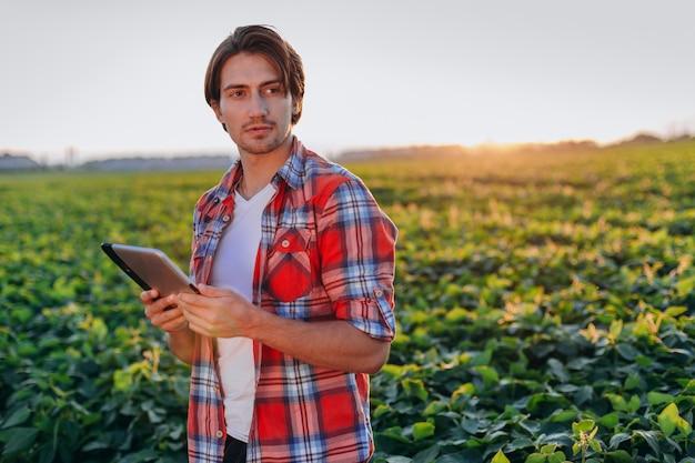 Portret agronom stojący w polu trzymając tabletkę.