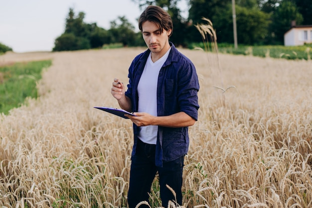 Portret agronom w polu pszenicy, przejmując kontrolę nad plonem.