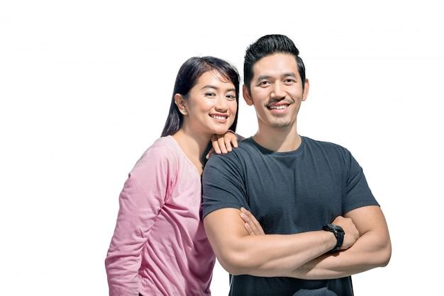 Portret azjatykci pary ono uśmiecha się