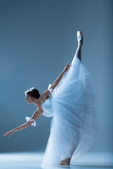 Portret balerina na błękit ścianie