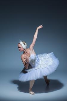 Portret baletnicy w roli białego łabędzia na niebieskim tle