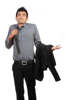 Portret biznesmena gestykulować no zna znaka