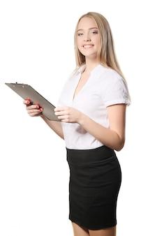 Portret biznesowa kobieta odizolowywająca na białym tle