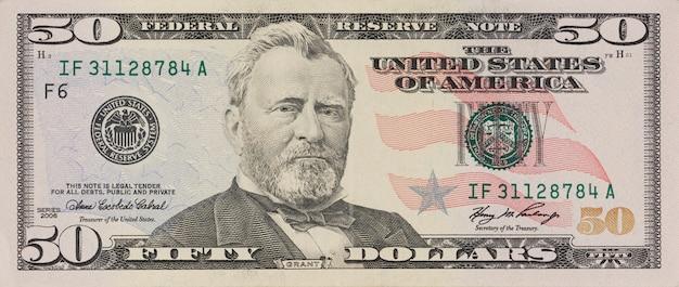 Portret byłego prezydenta usa ulyssesa granta. makro od 50 dolarów