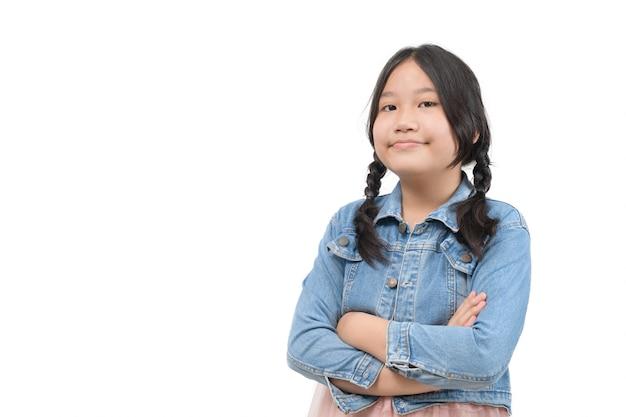 Portret cute studentów nosić dżinsy kurtki na białym tle, edukacja i powrót do koncepcji szkoły