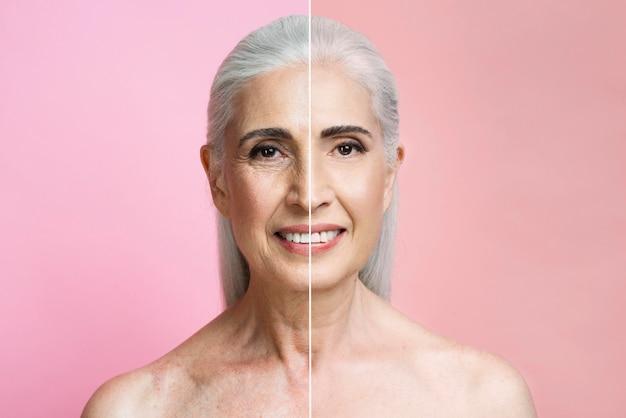 Portret dojrzałej kobiety przed i po retuszowaniu