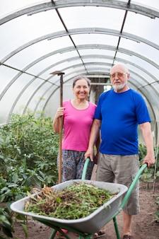 Portret dojrzałych mężczyzn i kobiet przy pracach ogrodniczych