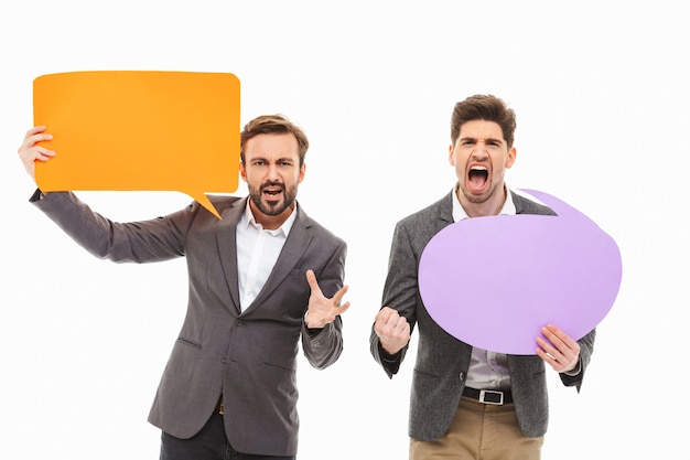 Portret dwóch gniewnych ludzi biznesu