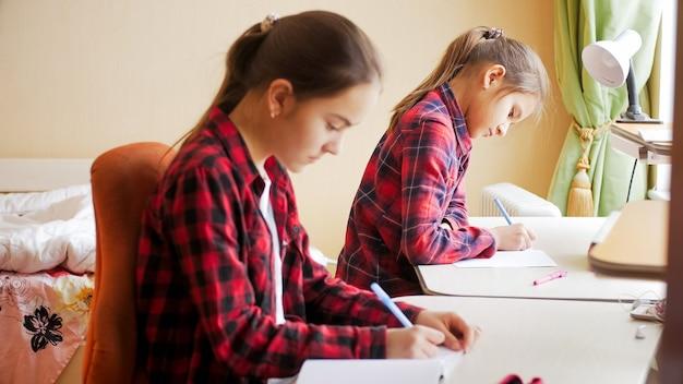 Portret dwóch nastoletnich dziewcząt uczących się w domu z powodu kwarantanny i covid-19.