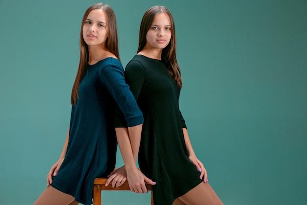 Portret dwóch pięknych bliźniaczych młodych kobiet