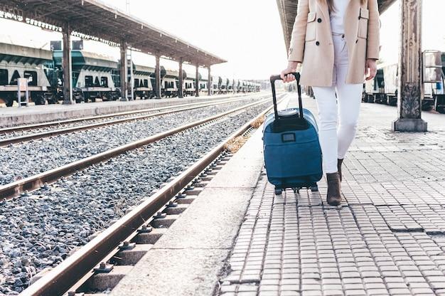 Portret dziewczynki w berecie i beżowej kurtce spacerującej z walizką przez stację kolejową.