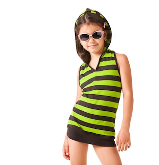 Portret dziewczynki w okulary i paski ubrania