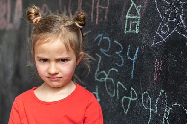Portret dziewczynki zdenerwowany