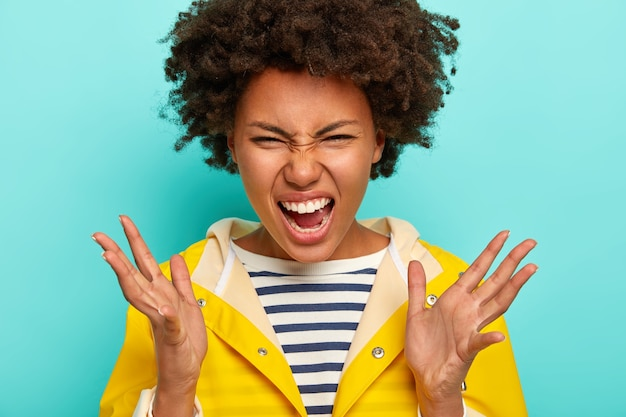 Portret emocjonalnej, wściekłej, kręconej, kręconej kobiety afroamerykańskiej denerwującej ponurą deszczową pogodą, trzyma usta otwarte, nosi sweter w paski i żółty płaszcz przeciwdeszczowy, pozuje na niebieskim tle