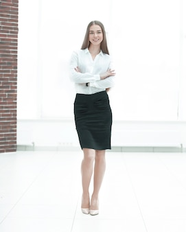 Portret kobiety biznesowej wykonawczej.zdjęcie z miejscem na kopię