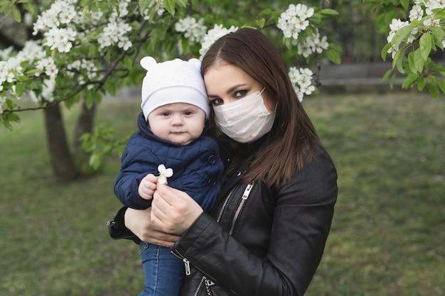 Portret kobiety i jej syna w masce ochronnej przed wirusem korony lub epidemią wirusa covid-19 i pm 2.5 w mieście