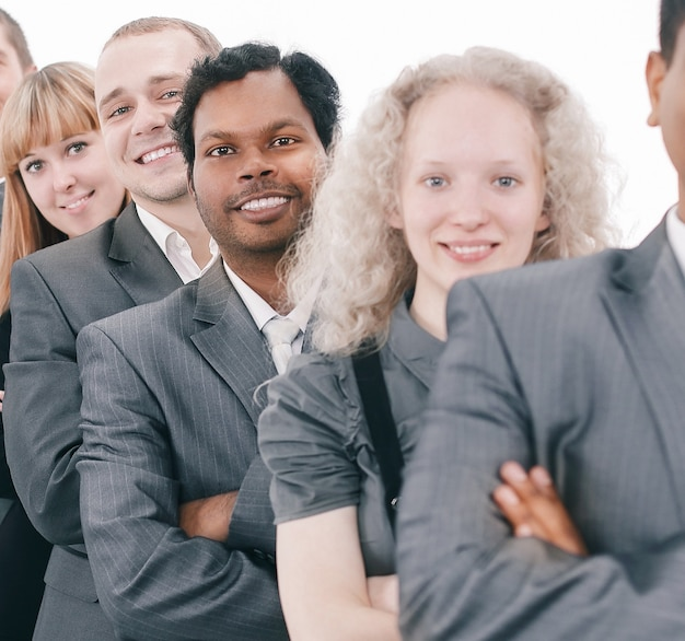 Portret kobiety i mężczyzny uśmiechniętych pracowników biurowych