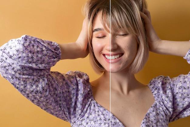 Portret kobiety przed i po retuszowaniu